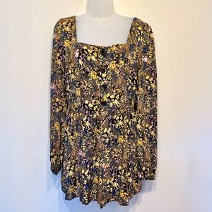 Urban Outfitters Yellow Floral Long Sleeve Romper